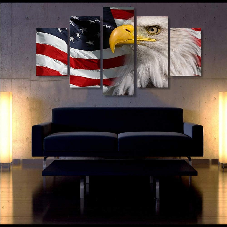 Zxdcd Arte De La Parojo Pintura De La Lona Paisaje Imágenes Modulares Salón Decoración 5 Piezas Hd Imprimir Eagle American Flag Poster -20X35Cmx2 20X45Cmx2 20X55Cm