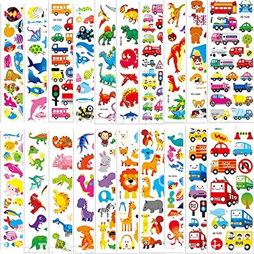 JINBOSHI 3D Aufkleber für Kinder , 3D Sticker 600+ Stickers für Jungen Mädchen Lehrer Verschiedene Set Buchstaben, Zahlen, Dinosaurier, Autos und mehr (30)