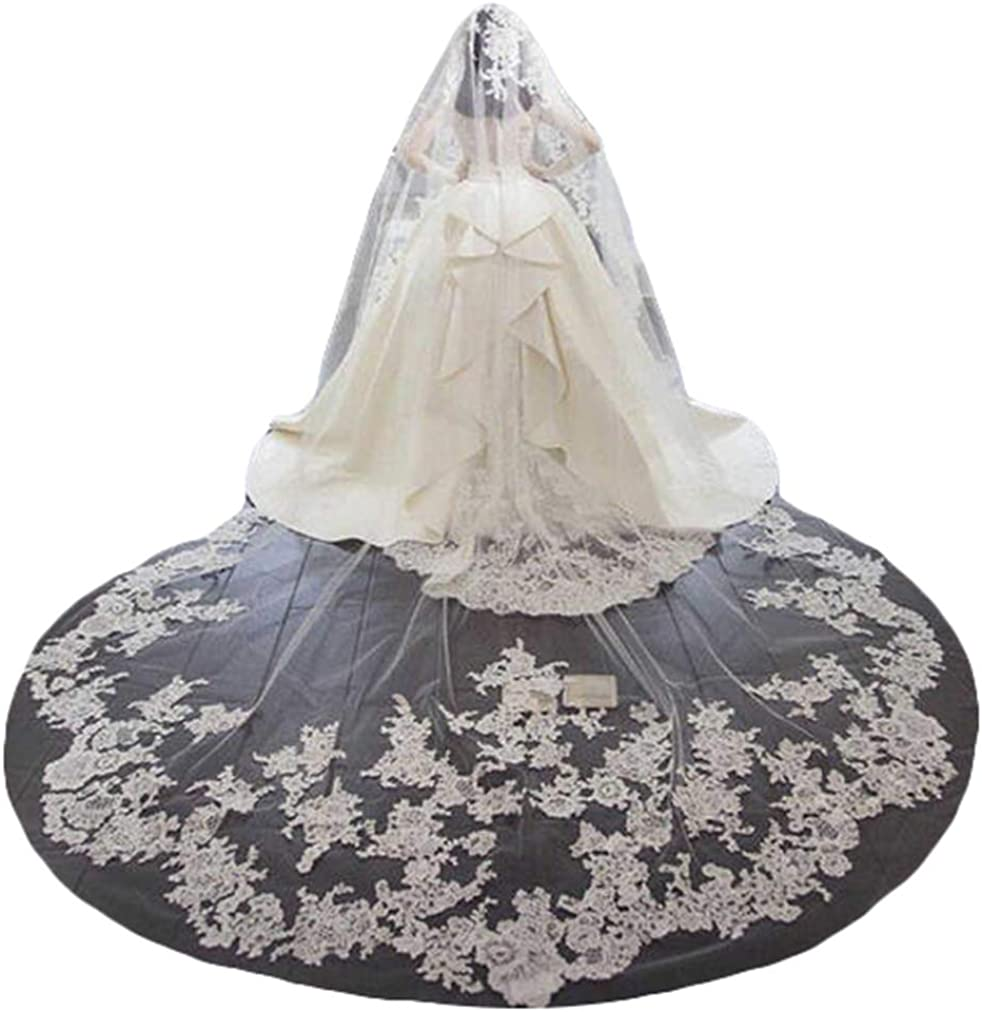 Women's Full Lace Veil Cathedral Veils for Brides with free Metal Comb