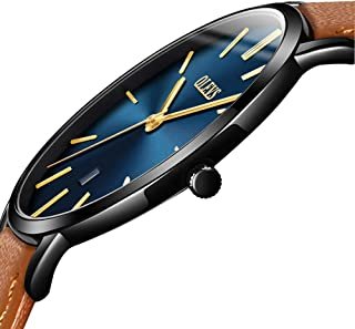 Amazon's Top hot-selling watches,men's watches,holiday gifts,Thin Mens Watches,Men's Watch Blue/White/Black Dial Wrist Watches,Mens Leather Watch Black\Yellow\Brown Simple Men Business Watch with Date,Waterproof Quartz Casual Watch,Men's Watches