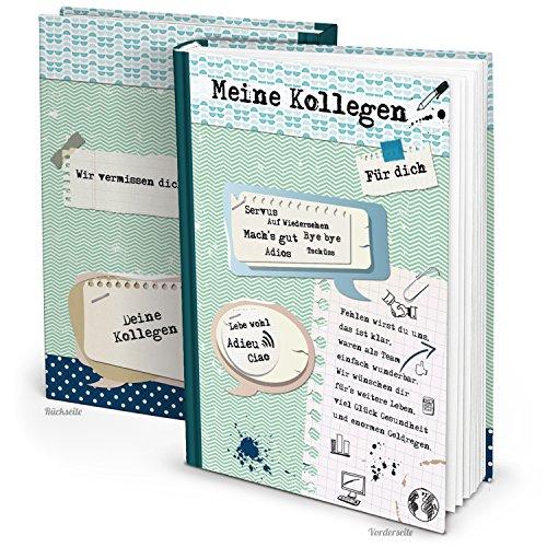 Logbuch-Verlag XXL Kollegenbuch DIN A4 164 Seiten zum Einschreiben Abschiedsgeschenk Abschiedsbuch Geschenk Erinnerung an Kollegen grün blau