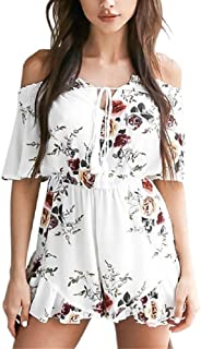 38532c709cea Moxeay Sexy V Neck Off Shoulder Agaric Edges Floral Print Playsuit Romper