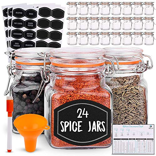 3.4 oz Spice Containers | 24 Glass Jars with Lids