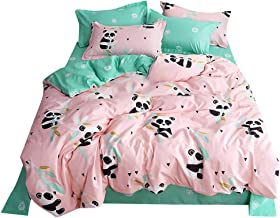 Fan-Ling Little Panda Printed Bedding Set of 4, Bedding Deluxe Family Set Sheet Quilt Pillowcase, Full Size Four Pieces,Including 1X Quilt Cover,2X Pillowcase,1X Bed Sheet (B)