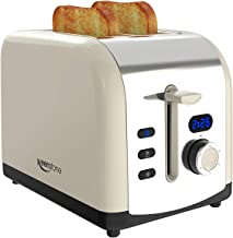 Toaster 2 Slice, Retro LED Timer Display Stainless Steel Toasters, Extra Wide Slots with Reheat, Cancel, Defrost Function, Cream