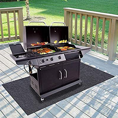 Gas Grill Mat,BBQ Grilling Gear for Gas/Absorbent Grill Pad Lightweight Washable Floor Mat to Protect Decks and Patios from Grease Splatter,Against Damage and Oil Stains