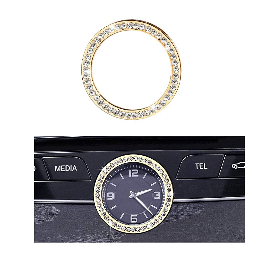 1797 Compatible W205 W213 C217 C E S CLS Class Clock Caps Mercedes Benz Accessories Parts Bling Center Console Panel Round Covers Decals Stickers Interior Inside Decorations AMG Women Men Crystal Gold