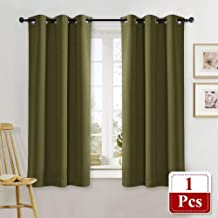 NICETOWN Olive Green Blackout Drape for Nursery Home Fashion Thermal Insulated Blackout Room Darkening Curtain/Drapery with Ring Top (Single Panel, 42 by 63 inches, Olive Green)