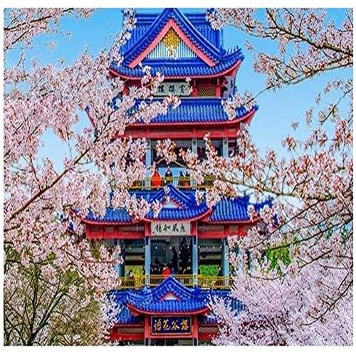 Yingxin34 Rompecabezas de Flores de Cerezo japonesas y Casas de Madera Rompecabezas de 5000 Piezas para Adultos