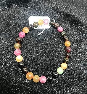 "7.5 inch strand natural multi tourmaline 7 mm round smooth beads for jewelry - 7mm multi tourmaline smooth round beads. aa quality bracelet natural multi tourmaline length 7.5"""