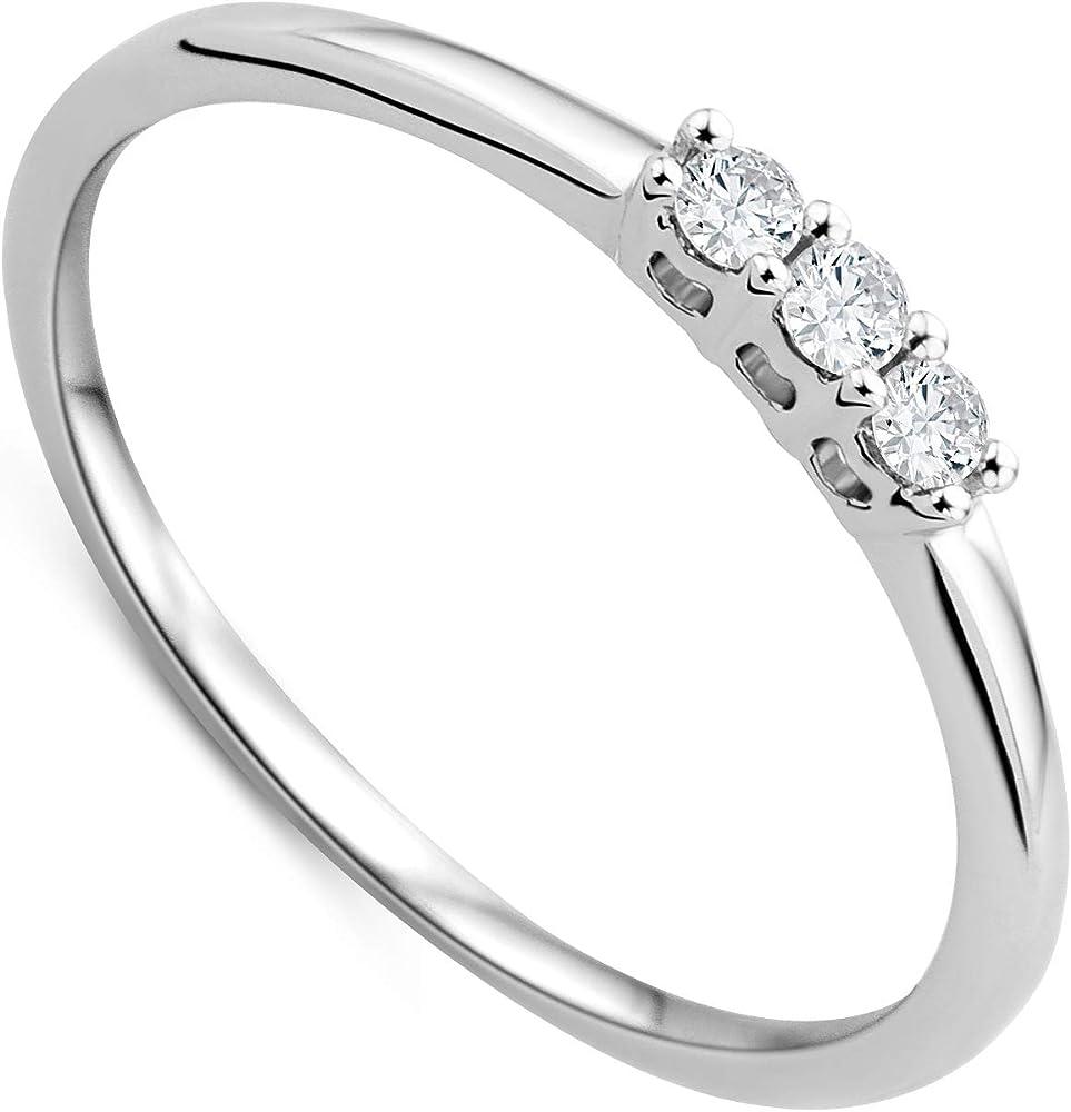 Orovi,trilogy ,anello per donna in oro bianco  9 kt /375(0,93gr)e diamanti 0.09ct taglio brillante OR7729R50
