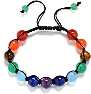 Reizteko Men Women 8mm Lava Rock 7 Chakras Diffuser Bracelet Elastic Yoga Healing Beads Braided Bracelet Bangle (Original ...
