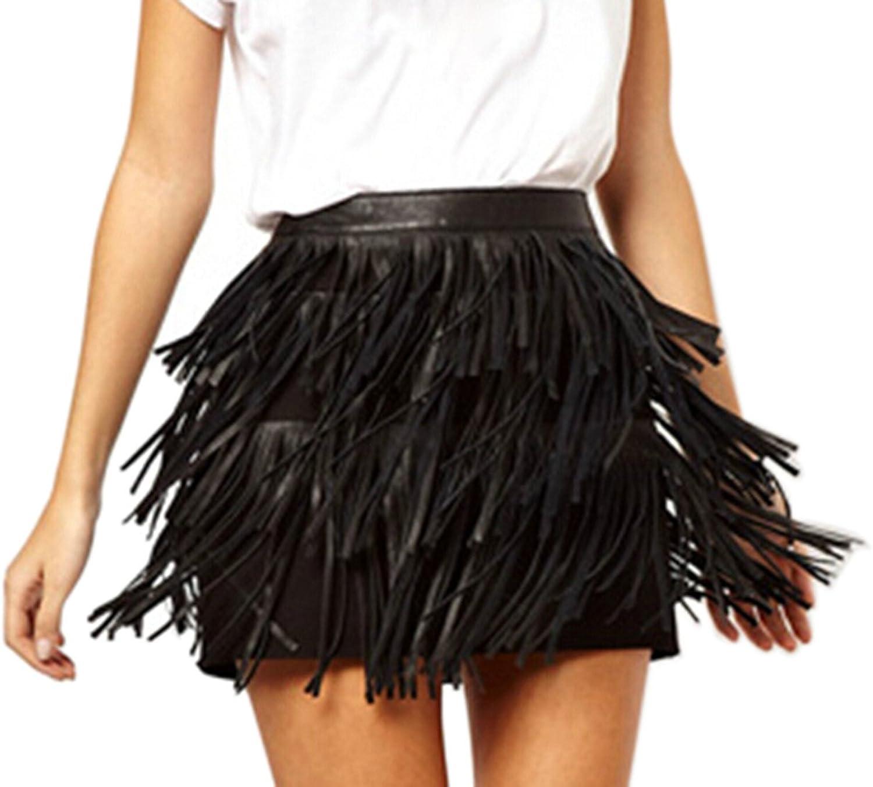 Muke Women's Three Layers Pu Leather Elegant Tassel Skirt