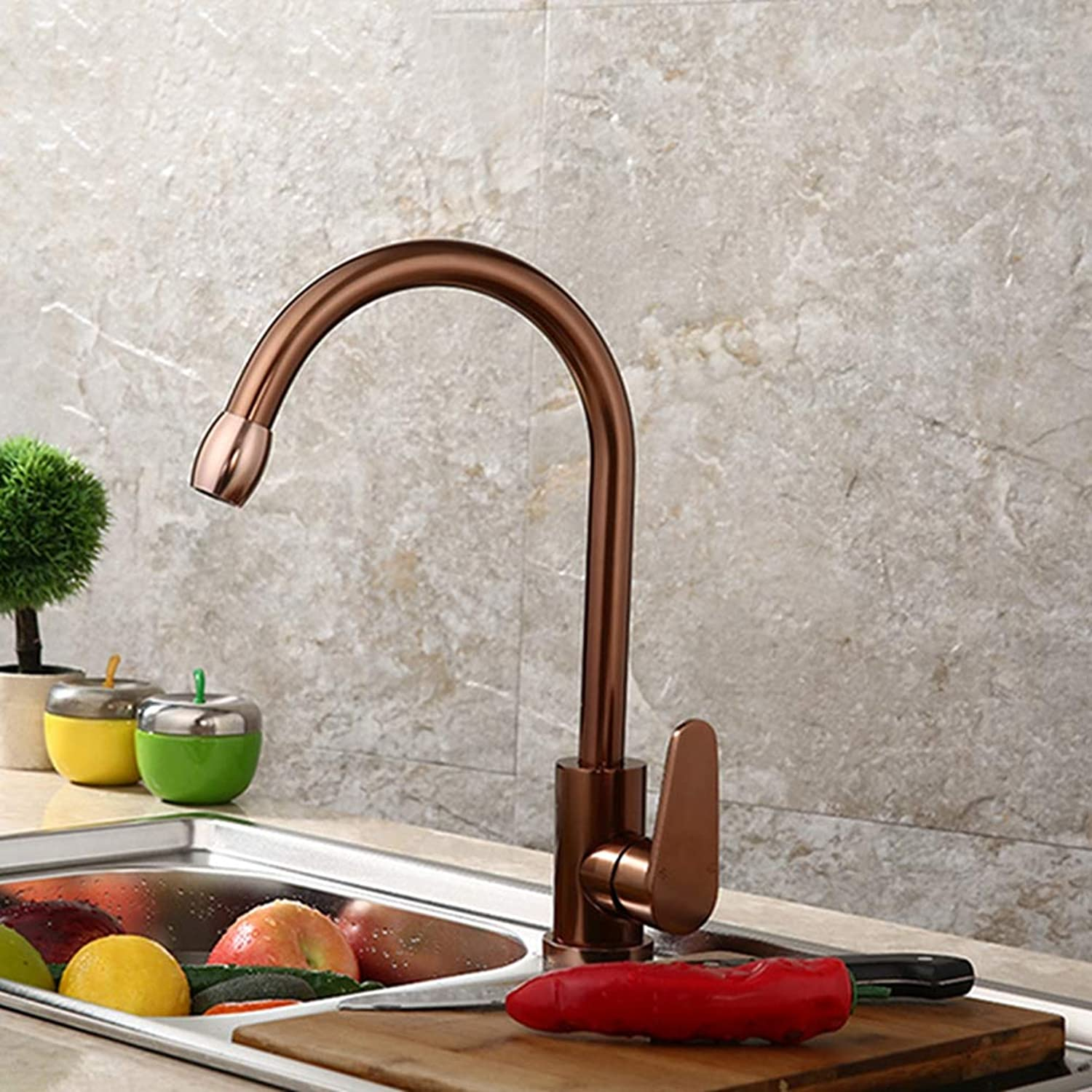 FZHLR pink gold Space Aluminum Kitchen Faucet Vegetable Washing Basin Sink Water Cold Hot Water Tap Mixer Single Handle 360 Degree Swivel