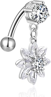 Reverse Belly Button Rings Surgical Steel 14G CZ Navel Ring Dangle Belly Piercings Jewelry Top Mount Belly Ring