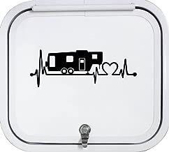 Bluegrass Decals Black 5th Fifth Wheel Camper Travel Trailer Heartbeat Lifeline 8 Inch Decal Sticker K1151BK