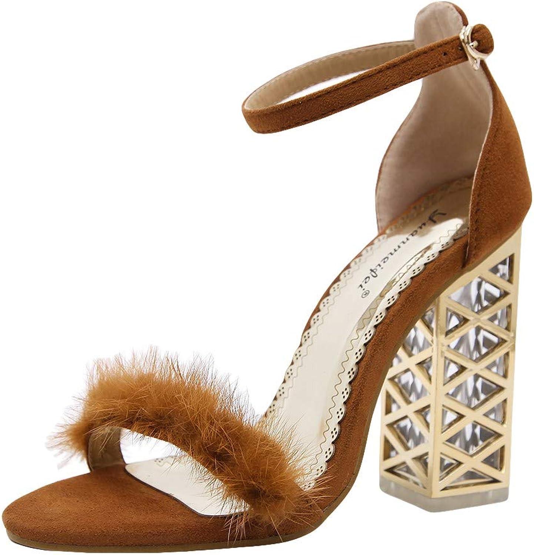 Women's Summer Casual Sandal Plush Open Toe Buckle Fashion Work High Heels shoes