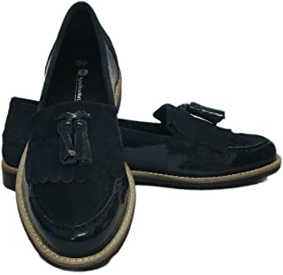 ASM Black Leather Court Shoes for Women (Leather Upper Material, TPR Sole, Soft Fleece Lining)