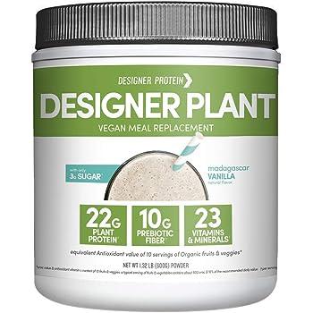 Designer Plant Vegan Meal Replacement Protein Powder, Madagascar Vanilla, Essential 10, 1.32 lb