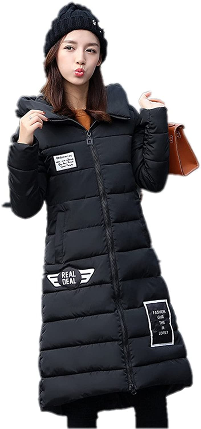 Women'S Winter Coat Longer Section Fashion Slim Hooded Padded Jacket
