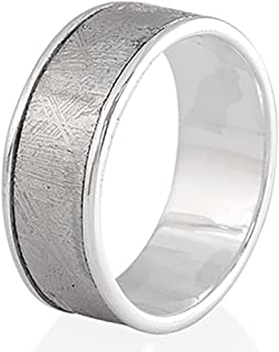 Creations Sterling Silver Lined Muonionalusta Meteorite Band Ring