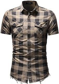 LUKEEXIN Men's Classic Checkered Denim Shirt Slim-fit Lapels Short-sleeved Denim Shirt