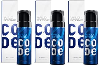 Wild Stone Code Titanium No Gas Body Perfume for Men, Strong Masculine Aroma for Everyday Use, Pack of 3 (120ml each)