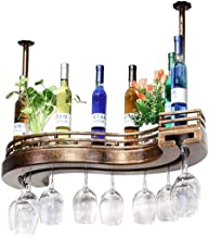 Yxsd Kitchen Storage Organisation Hanging Mounted Metal Wine Rack,European Iron and Wood Wine Glass Hanging Rack & Goblet ...