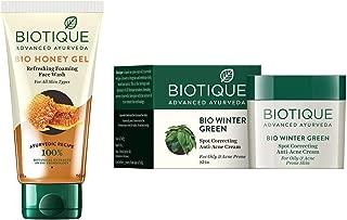 Biotique Bio Honey Gel Refreshing Foaming Face Wash, 150ml & Bio Winter Green Spot Correcting Anti Acne Cream, 15g Combo