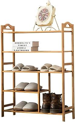 MARCU HOME Estantes para zapatos de bambú, 5 capas, asa conveniente, instalación simple