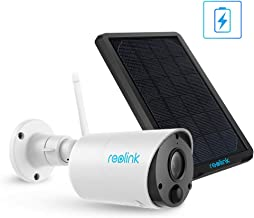 Reolink Rechargeable Solar Battery Powered Security Camera, 1080P Wire-Free Wireless Camera System Outdoor, Cloud Storage and SD Socket, 2-Way Audio, PIR Motion Sensor, Argus Eco with Solar Panel