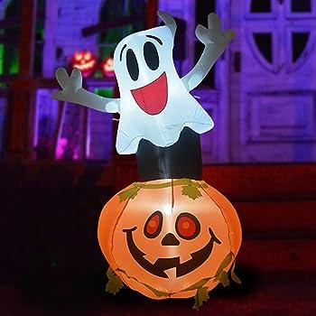 Goosh 5 Feet Halloween Inflatable Outdoor Smile Ghost & Pumpkin