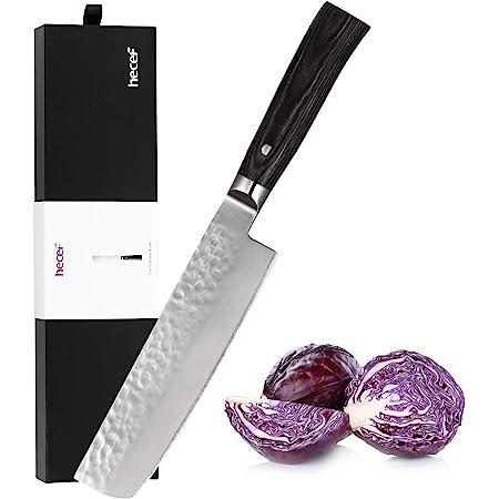 hecef Couteau de Chef de Cuisine avec Une Lame en Acier Inoxydable en Teneur de Haut Carbone, Couteau à Fruits et Légumes et à Cuisiner, Couteau de Cuisine de Nakiri de 7 Pouces