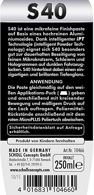 Scholl Concepts S40 Antischleier Schleifpaste 250 Ml Auto