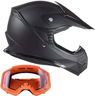 Typhoon Kids Youth Offroad Helmet & Goggle Gear Combo - Matte Black, Orange (large)