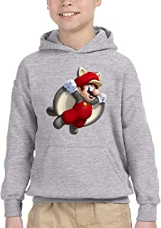 FHTD Flying Squirrel Mario Unisex Hoodie for Kids Outwear Coat with Pockets Jacket
