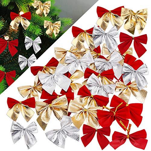 Fiocchi di Albero di Decorazioni Natale Archi del Nastro per Matrimoni Festival Archi del Nastro Ornamenti I Regali Anno Nuovo(48 Pezzi)