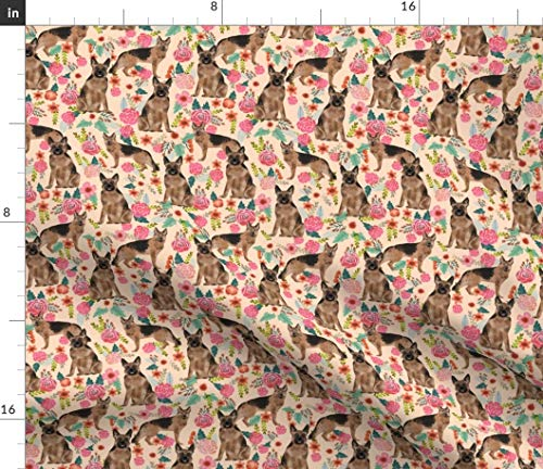 Spoonflower Fabric - German Shepherd Florals Cute Peach Vintage Painted Flowers Dogs Pet Printed on Organic Cotton Knit Fabric by The Yard - Baby Blankets Clothing Apparel T-Shirts