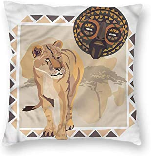 Mannwarehouse Safari Simple Pillowcase Tiger African Tribal Mask CushionW24 x L24