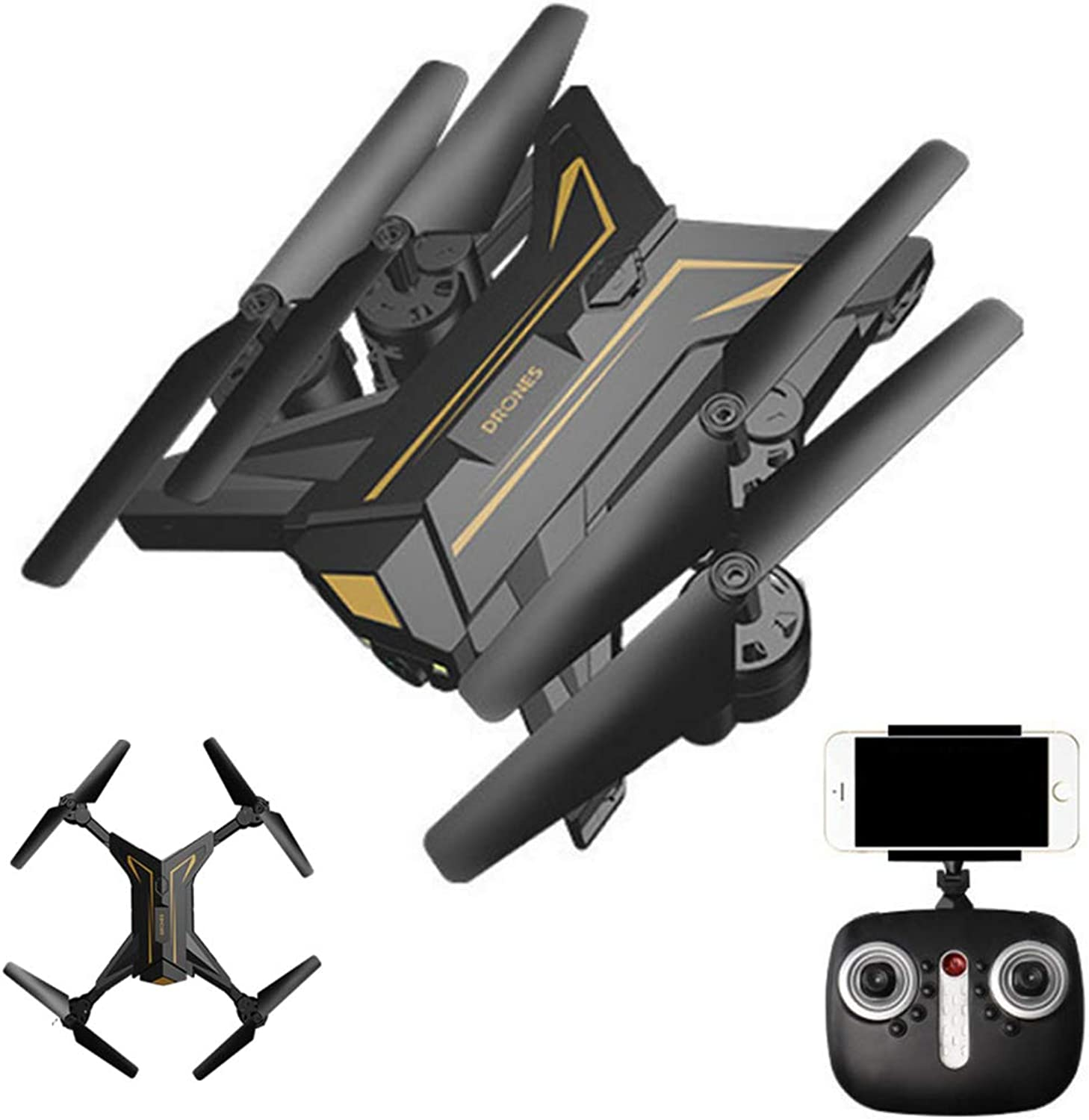 Mengen88 WiFi Realtime Transmission Remote Control Aircraft Wideangle Fxed Height FPV Folding Quadcopter Altitude Hold Stable 360degree flip Headless Mode
