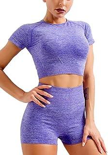 HYZ Yoga 2 Piece Outfits Workout Running Crop Top Seamless High Waist Shorts Sets