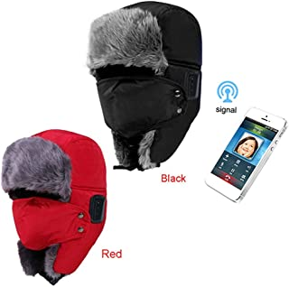 GLJJQMY Fashion Cold Outdoor Thick Bluetooth Cap Smart Compatible Bluetooth Earphone (Color : RED)