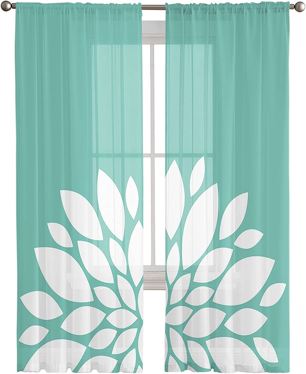 2021 Dahlia Sheer Curtains 2 Panels Window S Drapes Sale Special Price Pocket with Rod