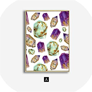 Modern Abstract Blue Mabble Green Agate Canvas Painting Life Quotes Wall Art Posters and Prints Picture for Living Room Bedroom,40x60cm No Frame,A