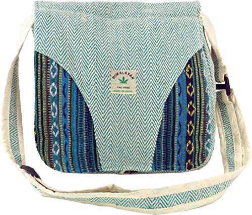 Guru-Shop Hanf Schultertasche, Ethno Nepal Tasche - Hanftasche 2, Herren/Damen, Blau, Size:One Size, 30x30x10 cm, Alternative Umhängetasche, Handtasche aus Stoff