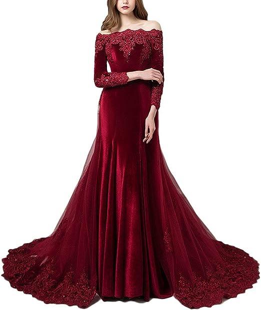 Nanger Damen Samt Spitze Ballkleider Lange Armel Elegant Schulterfrei Abendkleider Party Kleider Amazon De Bekleidung