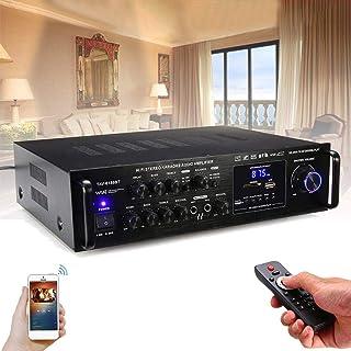 Yiteng Bluetoothオーディオサウンドアンプ FMカラオケアンプRCサポート2マイク TAV-6188BT 2000W 高音質 車載 家庭用カーアンプ パーティー用 新年会 忘年会 結婚式 リモン付き (A)