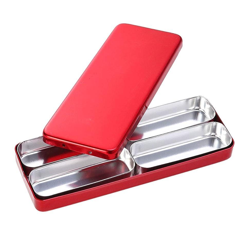 足音コア一人でHealifty 歯科材料の針の消毒箱4つのコンパートメントアルミニウム消毒箱の赤