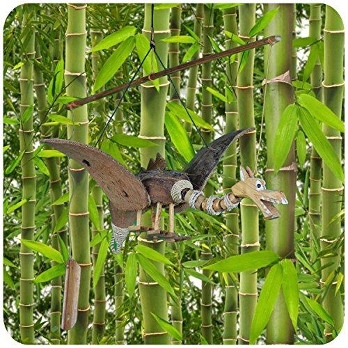 Simandra Windspiel Bambus Kokosnuss Holz handgefertigt Deko Entspannung Garten Türglocke Drachen