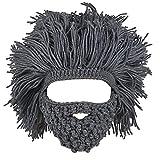 Cappello A Barba Cappellino Maglia Mano Inverno Maschera Ski Beanie Berretti per Bambini e Adulto Unisex - Grigio, Adulto